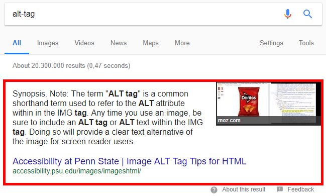 Featured snippets are shown this way